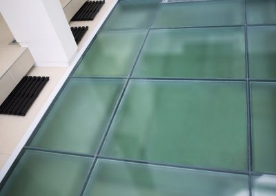 High angle view of a glass floor